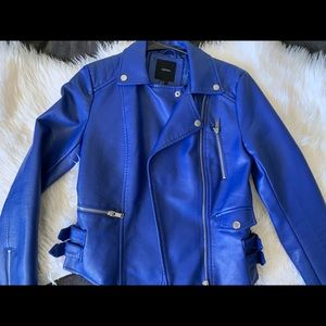 WORN ONCE: Forever 21 ROYAL BLUE Leather Jacket